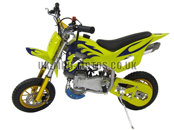 Mini Dirt Bike - Mini Dirt Bike DB02 yellow blue Flames - Mini dirt bike